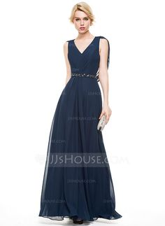 [US$ 139.99] A-Line/Princess V-neck Floor-Length Chiffon Evening Dress With Ruffle Beading Sequins