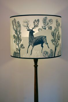 Large blue stag lampshade - Radiance