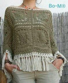 Crochet Top Crochet Poncho Top - A Handmade Crochet Made to Order Crochet Bolero, Cardigan Au Crochet, Pull Crochet, Gilet Crochet, Mode Crochet, Crochet Poncho Patterns, Crochet Shawls And Wraps, Crochet Cardigan, Crochet Granny