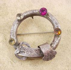 ANTIQUE Scottish Kilt pin BUCKLE Brooch