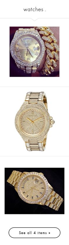 """watches ."" by diamonddolll ❤ liked on Polyvore featuring jewelry, watches, crystal stone jewelry, gold-tone watches, sparkly watches, druzy jewelry, gold colored jewelry, bracelets, hello kitty and animal print"