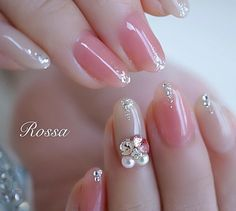 Image may contain: one or more people and closeup Soft Nails, Pink Nails, Glitter Nails, Japanese Nail Design, Japanese Nail Art, Nail Art Rhinestones, Rhinestone Nails, Nail Art Japonais, Cute Nails