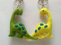 Plush Dinosaur Keychain, Felt Brontosaurus Keychain, Wool Felt Dinosaur Keyring, Dinosaur gift for boy, Dino favor, green yellow blue
