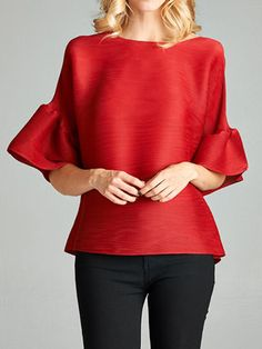 Red H-line Solid Pleated Frill Sleeve Blouse