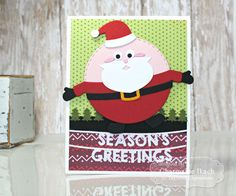 Season's Greetings Card by Charmaine Ikach #Cardmaking, #TEMatched, #RolyPoly, #LittleBitsDies, #TE, #ShareJoy