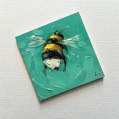 Reserved for Faye. Bumblebee painting, Tiny original impressionistic oil painting of a whimsical Bumblebee, on panel. Small Canvas Paintings, Small Canvas Art, Mini Canvas Art, Small Paintings, Original Paintings, Aesthetic Painting, Aesthetic Art, Bee Art, Painting & Drawing