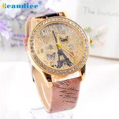Milky Fashion Paris Style Tower Butterfly PU Leather Women Watch Reloj JAN31