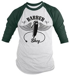 Shirts By Sarah Men's Barber Clippers Wings Clippers 3/4 Sleeve Raglan Shirt For Barbers