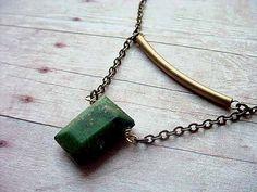 Green Agate Tribal Boho Modern Brass Pendant by MySelvagedLife
