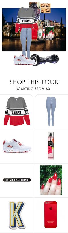 """""""OOTD 12/22/15"""" by kirstinv1226 ❤ liked on Polyvore featuring Topshop, NIKE, Bershka, Anya Hindmarch and Trish McEvoy"""