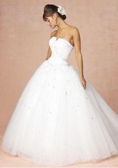 ELegant Organza Ball Gown Princess Strapless Chapel Train wedding dresses #ShopSimple