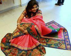Traditional kalamkari saree Price: 11000 #elegantfashionwear #kalamkari #onlinesaree