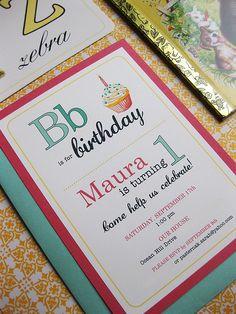 alphabet first birthday invitation