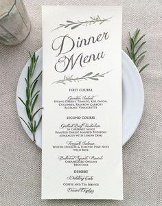 simple yet elegant wedding menu cards