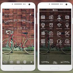 """On the Road"" 5/4 '15 Hit the road with this theme featuring a cool bicycle against a brick wall! http://app.android.atm-plushome.com/app.php/app/themeDetail?material_id=1250&rf=pinterest #wallpaper #design #beautiful #plushome #photo #bike"