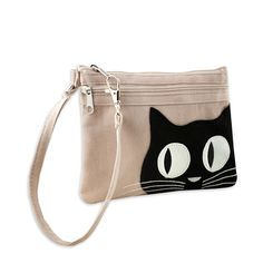 2 Zip Wristlet - Applique Cat