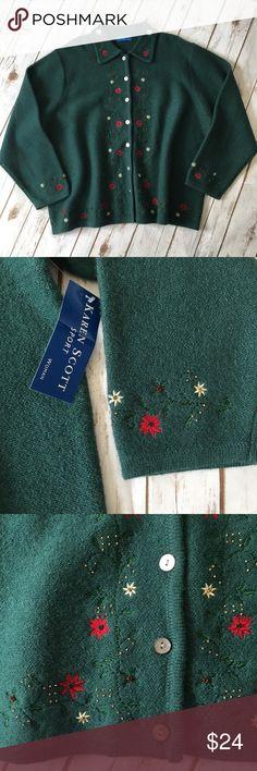 "- Karen Scott - Vintage Ugly Christmas Cardigan 🔸100% Wool 🔸length 27"" 🔸bust 26"" Karen Scott Sweaters"