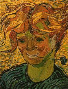 """""""Homem novo com Cornflower"""", óleo sobre tela por Vincent Van Gogh (1853-1890, Netherlands)"""
