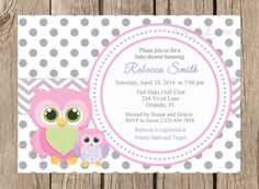 Owls Baby Shower Printable Invitation -Girl Baby Shower, Pink Purple and Grey, White and Grey Polka Dots, Mom and Baby Owl - 062