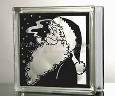 Santa Claus Pipe DIY decal for  Glass Block by VinylDecorBoutique