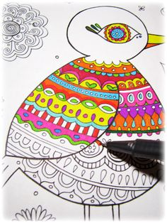 Folk Art Bird Coloring Pages: Funky Printable Bird Coloring Book for Adults & Teens