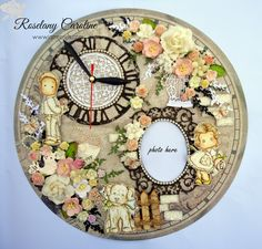 me and my craft corner : Lovely Clock with frame for I Am Roses Challenge Blog