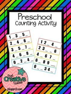 Preschool Number Order Product. $1.00 on TPT
