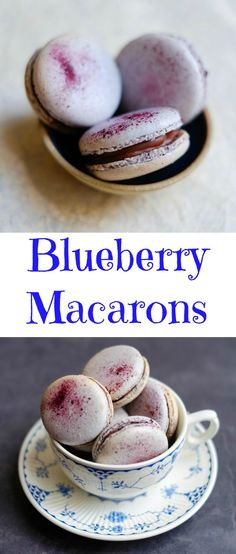 Blueberry Macarons with a freeze-dried blueberry macaron shell, lemon ganache and blueberry confiture.
