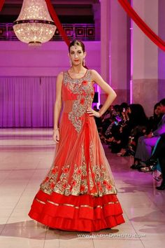 Charisma Design Studio red and gold anarkali lengha via IndianWeddingSite.com