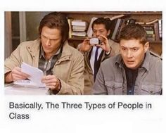 I'm Sam in school, castiel out of school, and Dean when I get legitimately angry. Spn Memes, Funny Memes, Hilarious, Supernatural Destiel, Castiel, Best Supernatural Quotes, Supernatural Merchandise, Fandoms, Superwholock