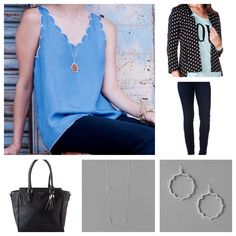Farringdon Polka Dot Blazer, Caldwell Scalloped Tank, Harper Ultra Skinny Jean in Blue and Black Indigo, Courtneay Lotus Earrings, Raleigh Strand Necklace, and Harper Tassel Tote