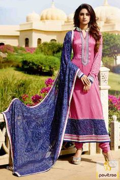 5d9ecf52e24e4d Pink Tussar Silk And Viscose Georgette Resham Embroidered Straight Suit  With Chiffon Dupatta - Brijraj Fashions Indian Ethnic Wear