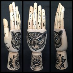 Wooden hand with drawings of an owl / rose / all door Inkspirednl