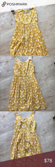 """BODEN """"Nancy"""" Dress - Yellow Sunflower Print * Boden """"Nancy"""" Dress in Yellow Sunflower Print * adorable yellow background w/white flowers * zip closure * pleated skirt detail * fully lined * side pocket feature * BUST (laid flat, on one side) - 18"""" * WAIST (laid flat, on one side) - 16.5"""" * LENGTH - 43"""" * 100% Cotton * Excellent Used Condition   * no trades/paypal/off cite transactions * all measurements are approximate Boden Dresses"""