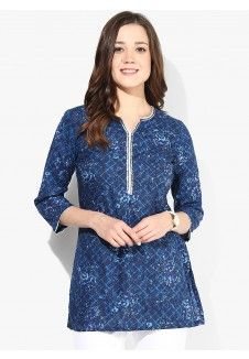 Blue Printed Kurti My Jeans, Blue Jeans, White Jeans, Casual Skirts, Casual Tops, Long Kurtas, Indian Kurta, Printed Kurti, Tunic Tops