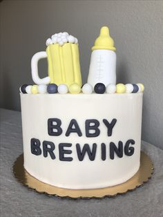 Baby Is Brewing Cake For A Male Baby Shower Lizzie S