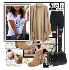 """""""SHEIN CONTEST: Loose Cardigan Sweater"""" by parkersam76 ❤ liked on Polyvore featuring Boyfriend/Girlfriend and Vince Camuto"""