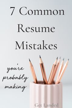 These are the most common resume mistakes I see daily - even from my brightest customers! Making even just one can ruin your chances of landing the job or furthering your career. - Resume & Career Tips from Get Landed Resume Advice, Resume Writing Services, Resume Writing Tips, Career Advice, Hr Resume, Resume Help, Career Success, Internship Resume, College Resume