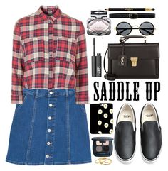 """Saddle Up!"" by oshint ❤ liked on Polyvore featuring MANGO, Topshop, Vans, NARS Cosmetics, Bare Escentuals, Gucci, Linea Pelle, Gorjana, Sisley Paris and Yves Saint Laurent"
