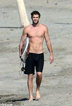 Liam Hemsworth went shirtless in Costa Rica.