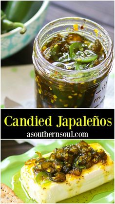 It doesn't matter if you call them Candied Jalapeños or Cowboy Candy, this sweet and spicy concoction is down right irresistible! With just a few ingredients, fresh jalapeños are turned into something extra special and perfect with burgers, sandw - # Canning Recipes, Spicy Recipes, Mexican Food Recipes, Appetizer Recipes, Healthy Recipes, Fancy Appetizers, Fresh Jalapeno Recipes, Vegan Recipes With Jalapenos, Jalapeno Ideas