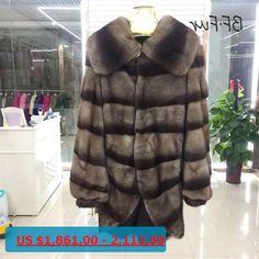 BFFUR Real Mink Fur Coat Women Winter Long Stripe New Style Real Fur Coat Outwear Female Girls Genuine Mink Fur Jacket Fur-33