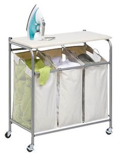 Laundry Sorter Center with Built-In Ironing Board