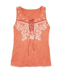 An embroidered and tie neck detail top adds personality and flare to your regular summer knit tanks. (Stitch Fix Blythe Tie Neck Knit Tank)