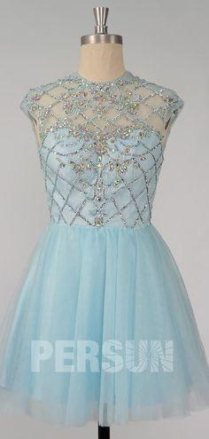 Mini robe de bal bleu clair haut ornée de bijoux avec jeu de transparence Chic, Victorian, Formal Dresses, Mini, Fashion, Bun Hair, Ballroom Dress, Inverted Triangle, Light Blue