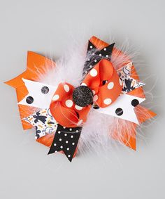 Take a look at this Shimmy Shimmy Bowtique Orange & Black Spookable Funky Bow Clip on zulily today!
