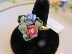 Handmade For You Pretty Porcelain Bouquet Flowers Rose Green and Blue Beaded Stretchy Ring Gold Plated Adjustable Plus Sizing 8 to 11 R31 by JewelsHandmadeForYou on Etsy