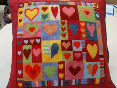Printed canvas stitched in own wools. Made up in red cotton with teal piping. Cross Stitching, Cross Stitch Embroidery, Cross Stitch Patterns, Cross Stitch Pillow, Cross Stitch Heart, Modern Tapestries, Tapestry Kits, Needlepoint Designs, Chart Design