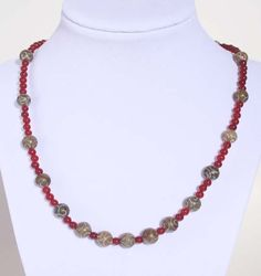 Carved Jasper Necklace - Tan and Red