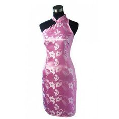 Periwing Pink Satin One Side Shoulder Strap Button Knee Length Flower Chinese Dress Qipao
